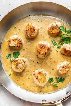 These pan-seared scallops are elegant and simple to make! The creamy lemon garlic butter white wine pan sauce is to die for. The best elegant dinner or appetizer. Lemon White Wine Sauce, White Wine Butter Sauce, Lemon Garlic Butter Sauce, Lemon Garlic Salmon, Sauce For Scallops, Pan Seared Scallops, Fish Recipes, Seafood Recipes, Cooking Recipes