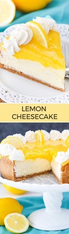 Lemon Cheesecake - a smooth and creamy lemon cheesecake topped with lemon curd!
