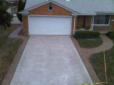 Cement Home Driveway.How To Repair Cracked Or Chipped Brick Pavers HowStuffWorks. Cement Driveway, Stamped Concrete Driveway, Driveway Border, Driveway Design, Concrete Driveways, Driveway Landscaping, Concrete Patio, Driveway Ideas, Walkways