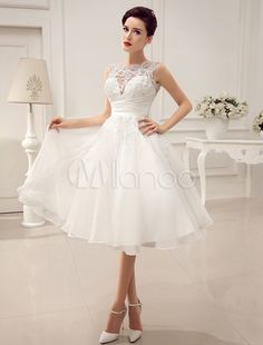 Ivory Beaded Lace Short Wedding Dress with Jewel Neck Sequins - Milanoo.com
