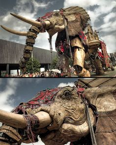 """Steampunk dream: """"The Sultan's Elephant was a show created by the Royal de Luxe theatre company, involving a huge moving mechanical elephant, a giant marionette of a girl and other associated public art installations."""