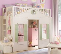 pottery barn playhouse loft bed - Google Search