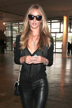 Rosie Huntington Whiteley in all black eveything leather pants with nude heels