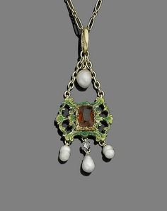 A gem-set, pearl and enamel pendant necklace, by Giuliano, circa 1900 The green guilloché enamel openwork plaque of scrolling and foliate design, centrally-set with a mixed step-cut hessonite garnet, suspending baroque pearls and a collet-set cushion-shaped diamond, to a fetter-link chain, suspensory hoop with maker's mark C&AG