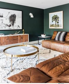 Leather Sofas For Living Room Leather Sofa Sectional 59 Best Solution Small Apartment Living Room Decor Ideas Colourful Living Room, Living Room Green, Living Room Colors, New Living Room, Living Room Modern, Living Room Sofa, Home And Living, Cozy Living, Living Room Ideas Green And Brown