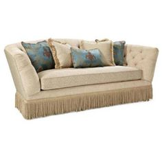 Curved Tufted Tan Velvet Sofa With Fabric Fringe Skirt