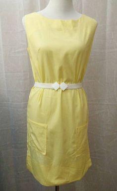 Handmade 1960s Dress Cute Spring Yellow Sleeveless Shift w/ Bucket Pockets