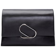 3.1 Phillip Lim Black Medium Flap Alix Clutch featuring polyvore, women's fashion, bags, handbags, clutches, black, 3.1 phillip lim handbag, flap purse, 3.1 phillip lim, flap handbags and chain strap purse
