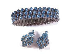 Vintage Rhinestone Jewelry Set Expansion Bracelet by VintiqueJools, $35.00