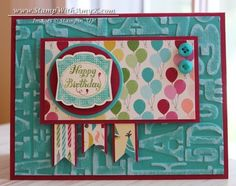 Label Something with Birthday Basics DSP - what a cheerful card - thanks Amy