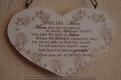 Mum Plaque Wood Heart Shaped Sign Plaque - Special Mum Mothers Day F1214A