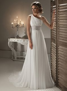 Wedding Dresses Pictures - Princess One Shoulder Non-Strapless Satin Chiffon Wedding Dress - Style WD5813