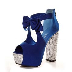 Fashion Hollow-out Bow Tie Embellished Chunky High Heels Blue Suede Ankle Strap Sandals