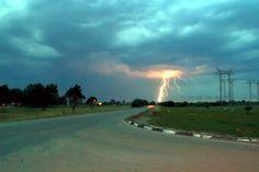 Lightning in road