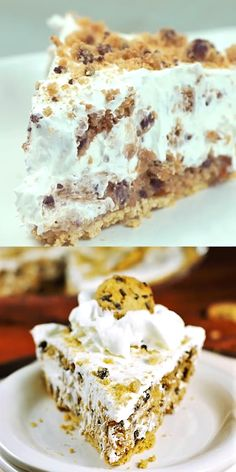 No-Bake Chocolate Chip Cookie Pie ~ Four simple ingredients come together to make this delicious no-bake pie. You won't believe how easy and tasty! Brownie Desserts, No Bake Desserts, Easy Desserts, Easy Delicious Desserts, Gourmet Recipes, Baking Recipes, Cake Recipes, Dessert Recipes, No Bake Recipes