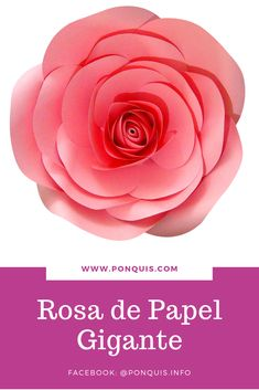 Hermosa Rosa de Papel Gigante. Molde Disponible para descarga inmediata. Vídeo de Paso a paso en mi facebook @ponquis.info y en mi web Ponquis.com Facebook, Rose, Flowers, Plants, Garden, Paper Roses, Paper Flowers, Color Tones, Step By Step