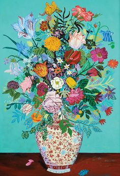 """Andy Dixon """"Teal Bouquet"""" Acrylic and oil pastel on framed canvas, x Teal Bouquet, Bouquets, Illustration Blume, Naive Art, Canadian Artists, Portraits, Art Sketchbook, Art Inspo, Creative Art"""