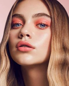 just peachy beauty look / peach eyes and lips on flawless dewy skin / hayley kas… - Natural Makeup Bridal Makeup Trends, Makeup Tips, Hair Makeup, Makeup Goals, Prom Makeup, Makeup Ideas, Beauty Make-up, Beauty Shoot, Hair Beauty
