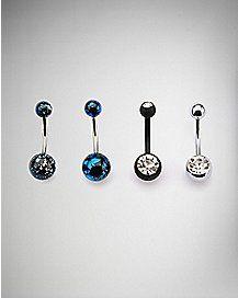 14 Gauge Splatter CZ Barbell Belly Ring 4 Pack - Black & Blue