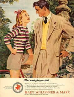 Stylish causal attire for him and her from Hart Schaffner & Marx, 1947. Grey shorts and striped pullover.