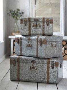 Vintage Style Zinc Trunks