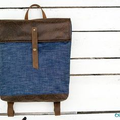 Items similar to Denim Brown Backpack With Genuine Leather Accessories on Etsy Denim Backpack, Denim Bag, Canvas Backpack, Leather Backpack, Leather Bag, Brown Backpacks, Big Bags, Leather Accessories, Farmer