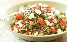 Greek Kaska Salad // Kasha, also known as buckwheat groats, pairs with lentils in this lively salad that perfect for picnics or easy weekday lunches.