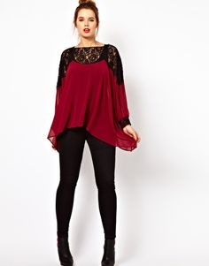 Enlarge ASOS CURVE Top With Lace Trim and Cuff