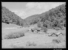 General landscape near Hyden, Kentucky, showing mountain cabins, sheds and cornfields