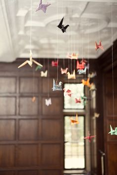 origami swans hanging for spring/summer decor Origami Swan, Origami Paper, Hanging Origami, Origami Cranes, Origami Mobile, Origami Flowers, Origami Birds, Origami Hearts, Dollar Origami