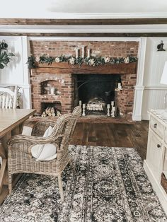 The rich colors and textures in this space at Lynzy's 's house are EVERYTHING! So perfectly perfect! Inspired to do a little… Bedroom Fireplace, Farmhouse Fireplace, Farmhouse Chic, Fireplace Mantels, Fireplaces, Home Depot Shed, Painted Fox Home, English Style, Ranch Style