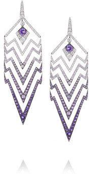 Boucles d'oreilles en or blanc 18 carats à pierres multiples Lady Stardust