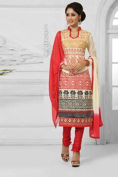 Cream Cotton Churidar Suit with Chiffon Dupatta Price:-2,090.00 Cream Cotton, printed print, semi stictch churidar suit. Collar neck kameez, Knee length, full sleeves kameez. Red santoon churidar. Cream and red chiffon dupatta. It is perfect for casual wear, festival wear, party wear and wedding wear wear.  http://www.topkart.in/cream-cotton-churidar-suit-with-chiffon-dupatta-dmv13540.html