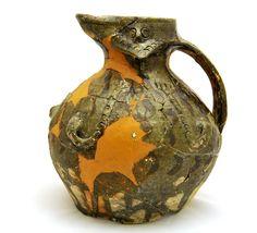 Grimston Ware medieval jug in the Bryggens Museum, Bergen, Norway.