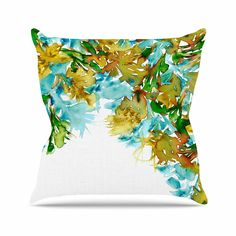 KESS InHouse JD1158AOP03 18 x 18-Inch 'Ebi Emporium Floral Cascade 9 Yellow Green' Outdoor Throw Cushion - Multi-Colour *** For more information, visit image link. #GardenFurnitureandAccessories