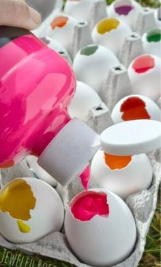 Fill egg shells with paint then throw them at the wall! Need to do!