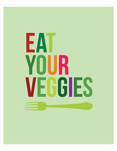 Eat Your Veggies - 8 x 10 kitchen wall art print. $18.00, via Etsy.