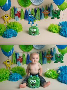 green and teal monster themed cake smash session Monster Party, Monster Birthday Cakes, Little Monster Birthday, Monster 1st Birthdays, Monster Birthday Parties, Birthday Cake Smash, First Birthday Parties, First Birthdays, Boy Cake Smash