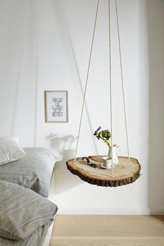Tree disc hung on ropes as a bedside table - Einrichten und Wohnen - Shelves Bohemian Bedroom Decor, Diy Bedroom Decor, Diy Home Decor, Küchen Design, Home Design, Tree Slices, Shelves In Bedroom, Home Bedroom, Girl Room