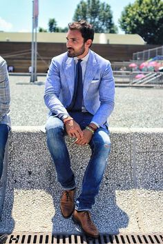 Linen blue suit. Casual men style.