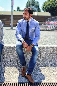 Linen blue suit. Casual men style.