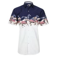 Cumberland Outfitters Men's Wild Horses Short Sleeve Shirt