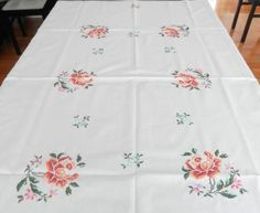 Vintage hand embroidery tablecloth 66 x 50 UNUSED Beige Background, Cross Stitching, Hand Embroidery, 1960s, Hands, Floral, Pattern, Cotton, Etsy