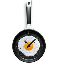 Frying Fry Pan Egg Omelet Modern Design Wall Clock Home Decor Yellow - New Arrivals- - TopBuy.com.au
