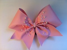 Light Pink Cheerleading Bow with Pearls on Etsy, $11.00