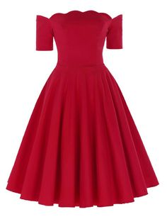 1950s Vintage Style Off Shoulder Swing Hearts Will Melt Scallop Red Dress