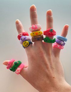 Fimo Ring, Polymer Clay Ring, Polymer Clay Crafts, Diy Clay Rings, Clay Art Projects, Cute Clay, Cute Rings, Clay Creations, Biscuit