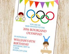 Printable Olympic Games Birthday Invitation Kids Birthday Party