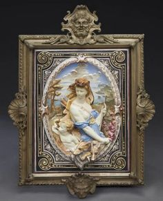 Large bronze framed majolica plaque in high relief depicting Diana, goddess of the hunt, with putti and hounds in a l. on Apr 2016 Clock, Bronze, Dallas Auction, Gallery, Frame, Diana, Moon, Nature, Watch
