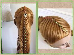 Trenza de 4 cabos con coleta   peinados faciles y bonitos con trenza -Little Princess Hairstyle - YouTube